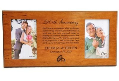 Personalized, Double Photo Frame, Anniversary Prayer,  Cherry 4X6  -