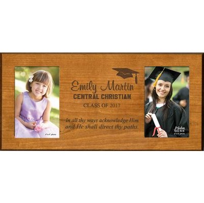 Personalized, Double Photo Frame, Graduation, Cherry,  4X6  -