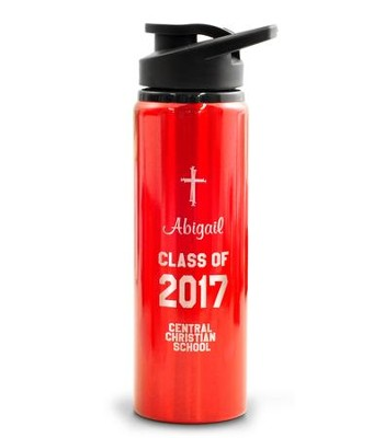 Personalized, Water Bottle, Flip Top, Graduation, Red   -