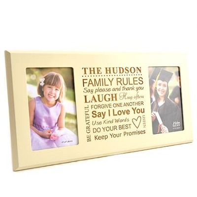 Personalized, Double Photo Frame, Family Rules, Ivory  4X6  -