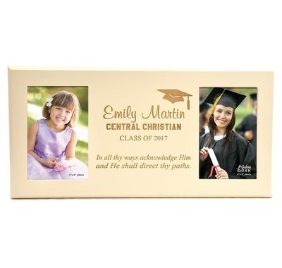 Personalized, Double Photo Frame, Graduation, Ivory  4X6  -