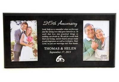 Personalized, Double Photo Frame, Anniversary Prayer,  Black 4X6  -