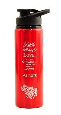 Personalized, Water Bottle, Flip Top, Love, Red   -