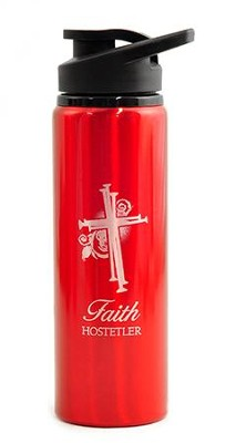 Personalized, Water Bottle, Flip Top, Nail Cross, Red    -