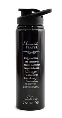Personalized, Water Bottle, Flip Top, Serenity Prayer, Black  -