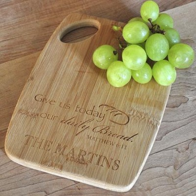 Personalized, Bamboo Cutting Board, Matthew 6:11, Small   -