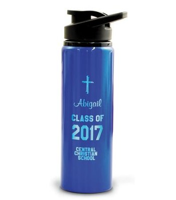 Personalized, Water Bottle, Flip Top, Graduation Blue   -