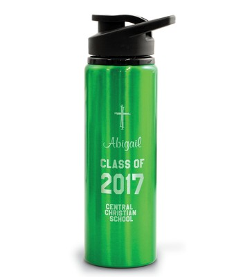 Personalized, Water Bottle, Flip Top, Graduation, Green   -