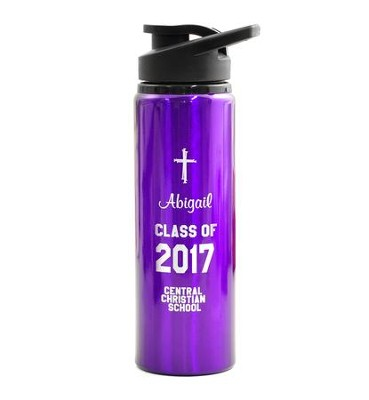Personalized, Water Bottle, Flip Top, Graduation,Purple   -