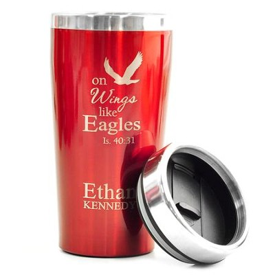 Personalized, Travel Mug, On Wings Like Eagles, Red   -