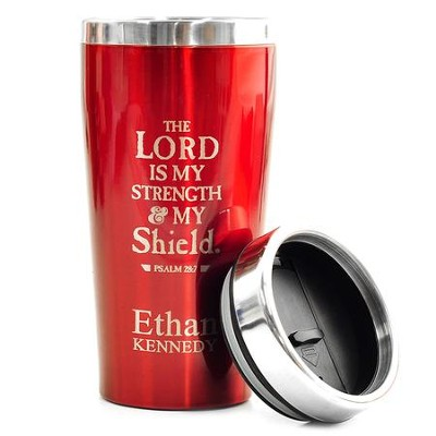 Personalized, Travel Mug, The Lord is My Shield, Red   -