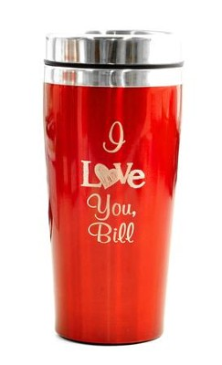 Personalized, Travel Mug, I Love You, Red   -