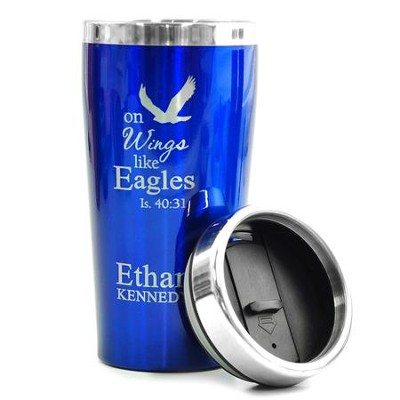Personalized, Travel Mug, On Wings Like Eagles, Blue   -