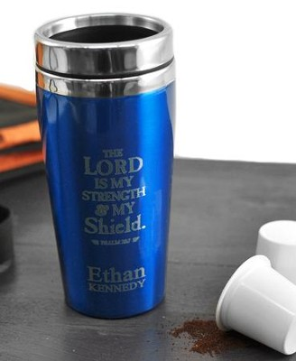 personalized travel mug the lord is my shield blue