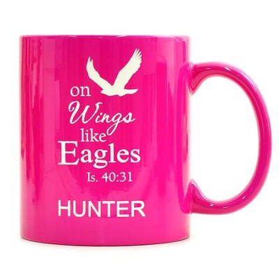 Personalized, Ceramic Mug, On Wings Like Eagles, Pink   -
