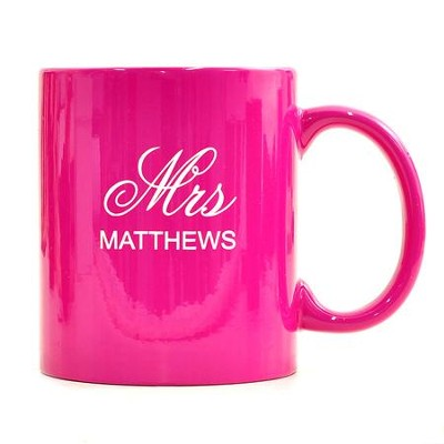 Personalized, Ceramic Mug, Mr and Mrs, Pink   -