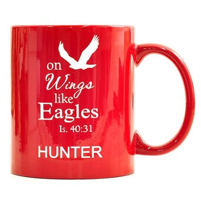 Personalized, Ceramic Mug, On Wings Like Eagles, Red   -
