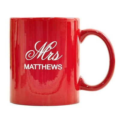 Personalized, Ceramic Mug, Mr and Mrs, Red    -