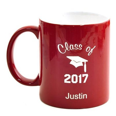 Personalized, Ceramic Mug, Graduation, Red   -