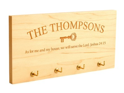 Personalized, Key Holder Plaque, As For Me, Maple   -