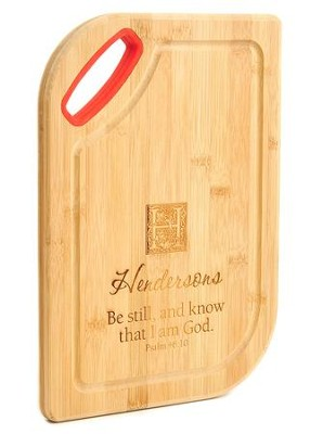 Personalized, Bamboo Cutting Board, Be Still, Red   -