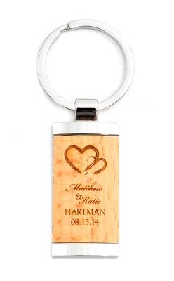 Personalized, Wooden Keyring, Two Hearts, Rectangle   -
