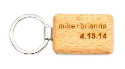 Personalized, Wooden Keyring, Name and Date, Rectangle   -