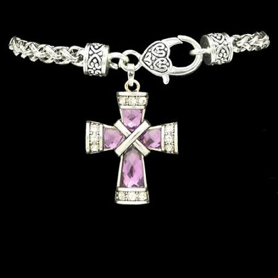 Cross Bracelet, Criss-Cross, Purple  -