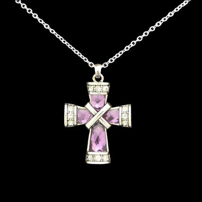 Cross Necklace, Criss-Cross, Purple  -