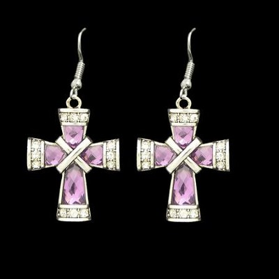 Cross Earrings, Criss-Cross, Purple  -