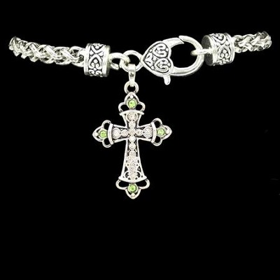 Cross Bracelet, Crystal and Green  -