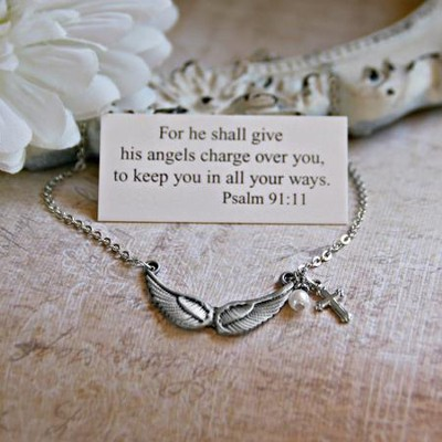 Angel wings Necklace Psalm 91:11  -