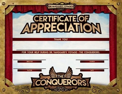 The conquerors vbs 2016 appreciation certificate pack of 10 the conquerors vbs 2016 appreciation certificate pack of 10 yadclub Image collections