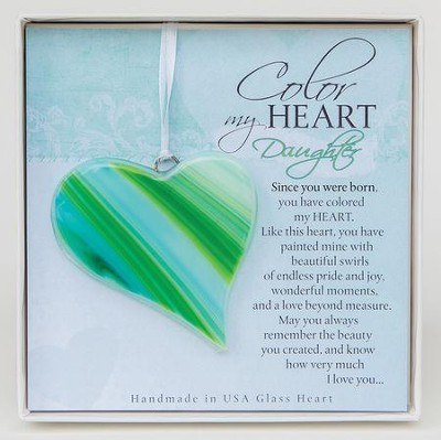 Daughter, Color of My Heart Glass Ornament  -