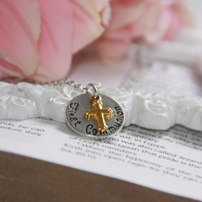 First Communion, Disk Necklace with Cross  -