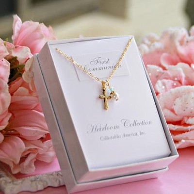 First Communion Necklace, Goldtone  -