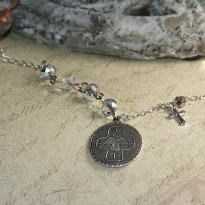 Guardian Angel, Disk Cross Necklace  -