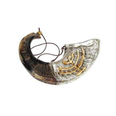 Anointing Shofar with Silver Menorah, 10 to 14 inches  -     By: Shofar