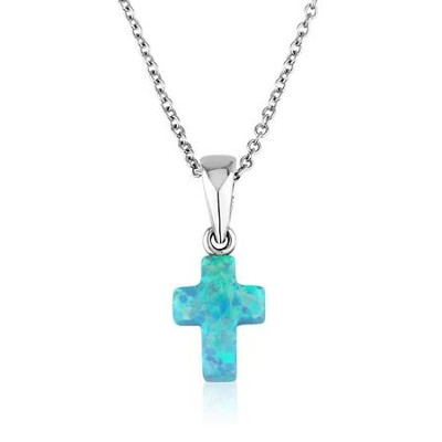Blue Opal Cross Pendant with 18 Chain   -     By: Marina