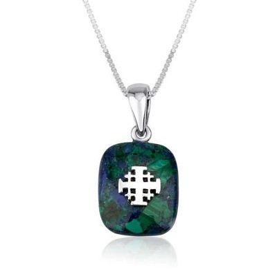 Jerusalem Cross on Azurite Eilat Stone, Pendant with  18 Chain  -     By: Marina