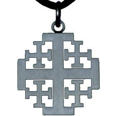 Pewter Finish Jerusalem Cross Pendant  -
