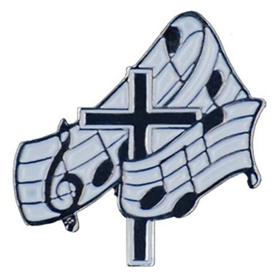 Music Notes & Cross Pin  -
