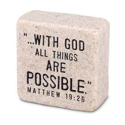 With God All things are Possible Shelf Sitter Stone   -