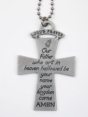 Cross, Lord's Prayer, Car Charm  -