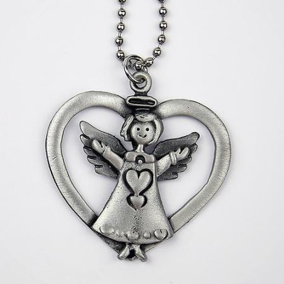 Angel with Heart Car Charm  -