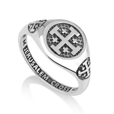 Silver Hebrew/English Ring: Jerusalem Cross, Size 12  -     By: Marina