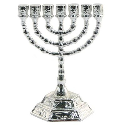 Silver Plated Menorah Decoration   -