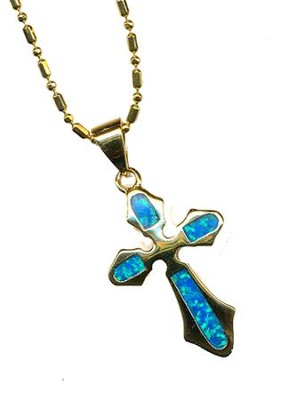 Black Opal Cross Pendant Flared    -