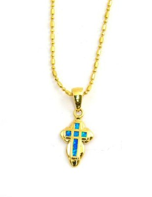 Black Opal Cross Pendant Rounded    -