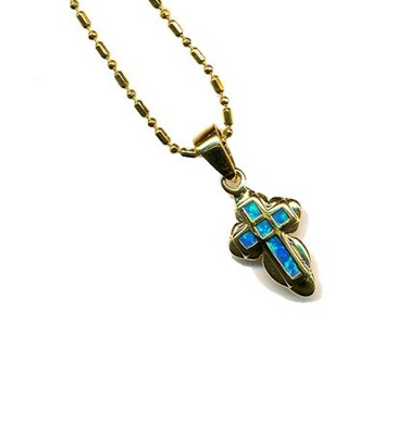 Black Opal Cross Pendant Angel Edge   -